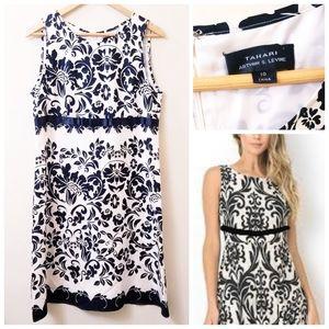 Tahari ASL - Black & White Silk Shift Dress